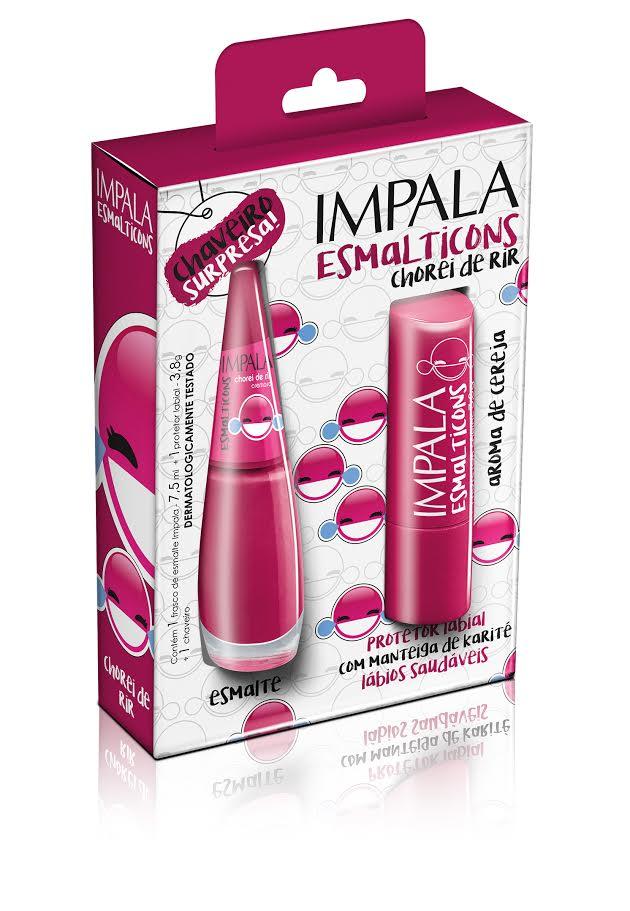 Unhas Femininas   Impala Coleção Esmalticons Kit Protetor Labial