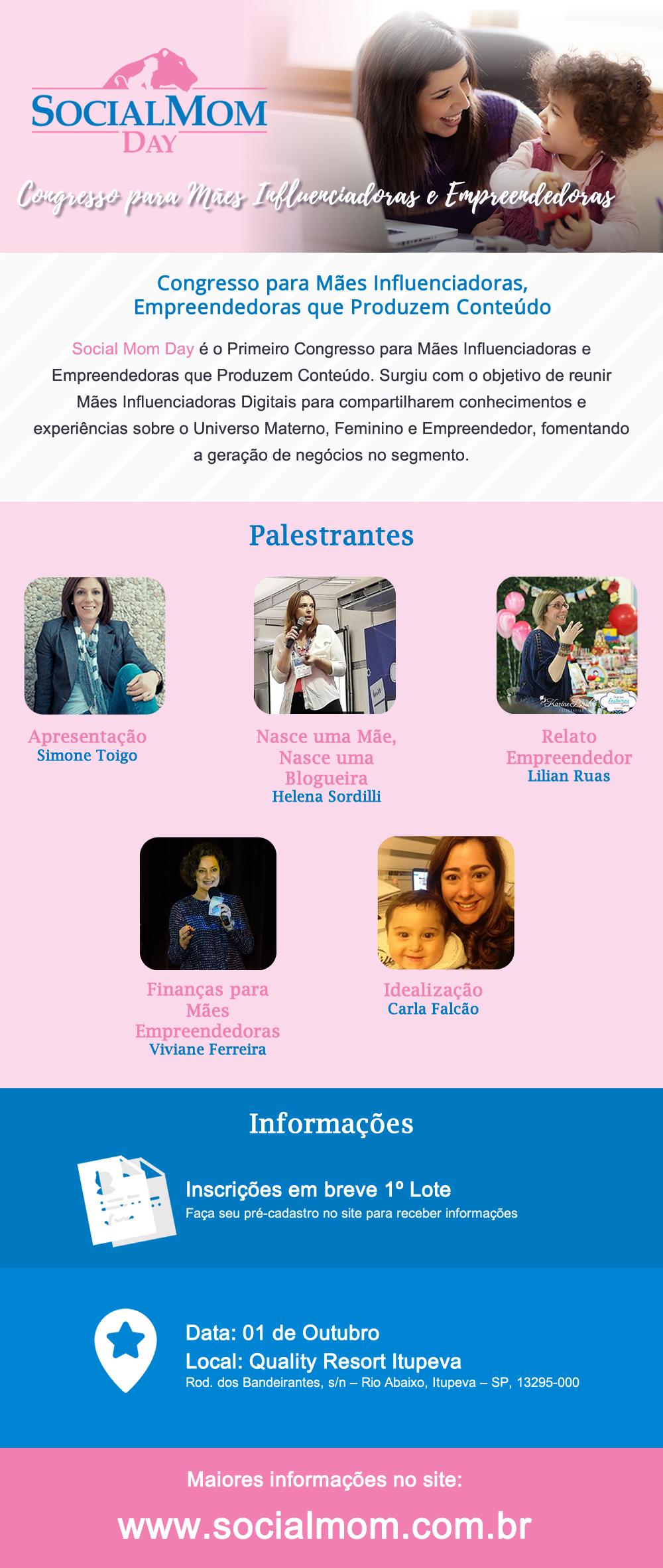 Social Mom Day | Começa as vendas do 1º Lote de Ingressos da edição 2017 Palestrantes