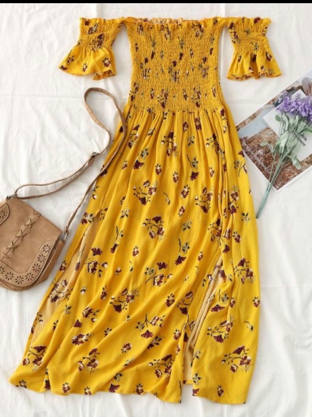 Dicas de Looks | Loja On Line Zaful Vestidos Floral Amarelo