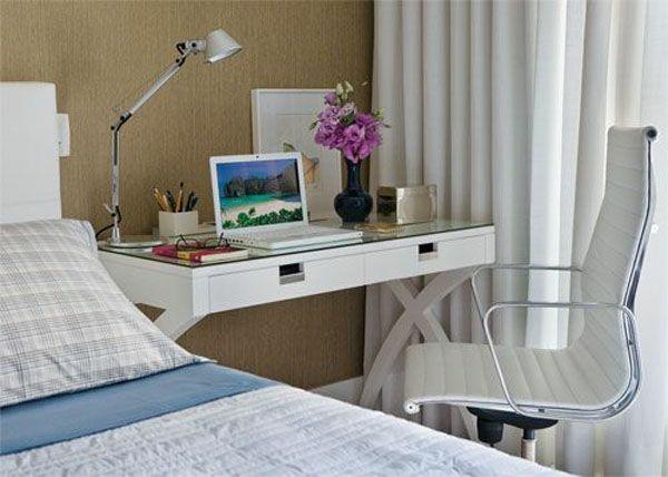 Trabalhar em Casa | Inspirações de Home Office Pequeno Cama