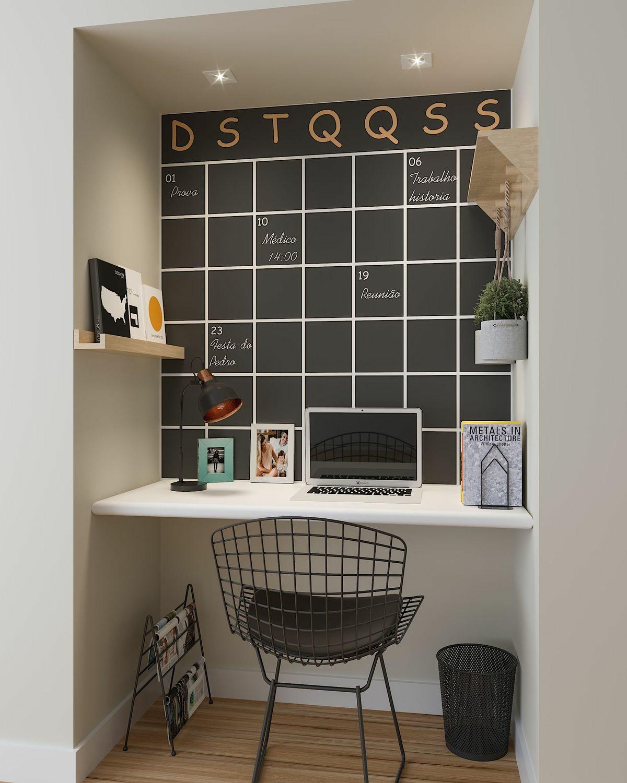 Trabalhar em Casa | Inspirações de Home Office Pequeno Parede